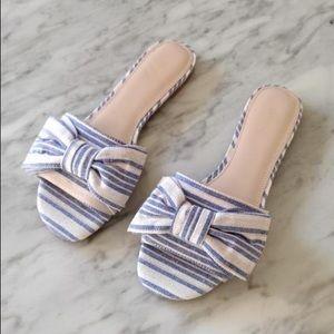 🆕 Botkier: Striped Blue/White Bow Sandals